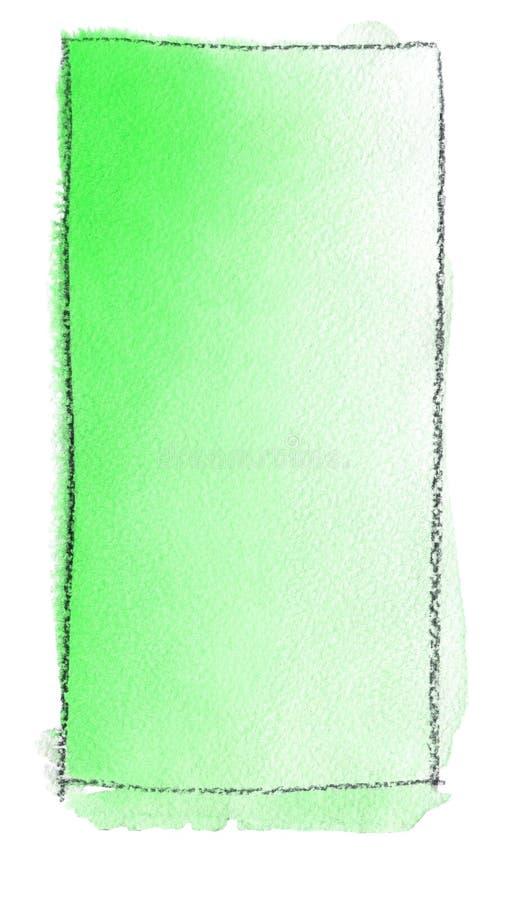 Akwareli gradientowa pełnia od zieleni biel dla tła Tekstura akwarela papier Pionowo prostokąt odskakujący linią royalty ilustracja