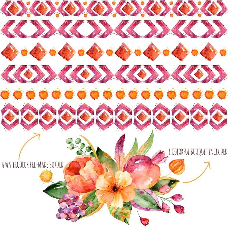 6 akwareli granic dla twój swój składów + 1 kolorowy jesień bukiet z jesień liśćmi, kwiatami, granatowem, jagodami i f, royalty ilustracja