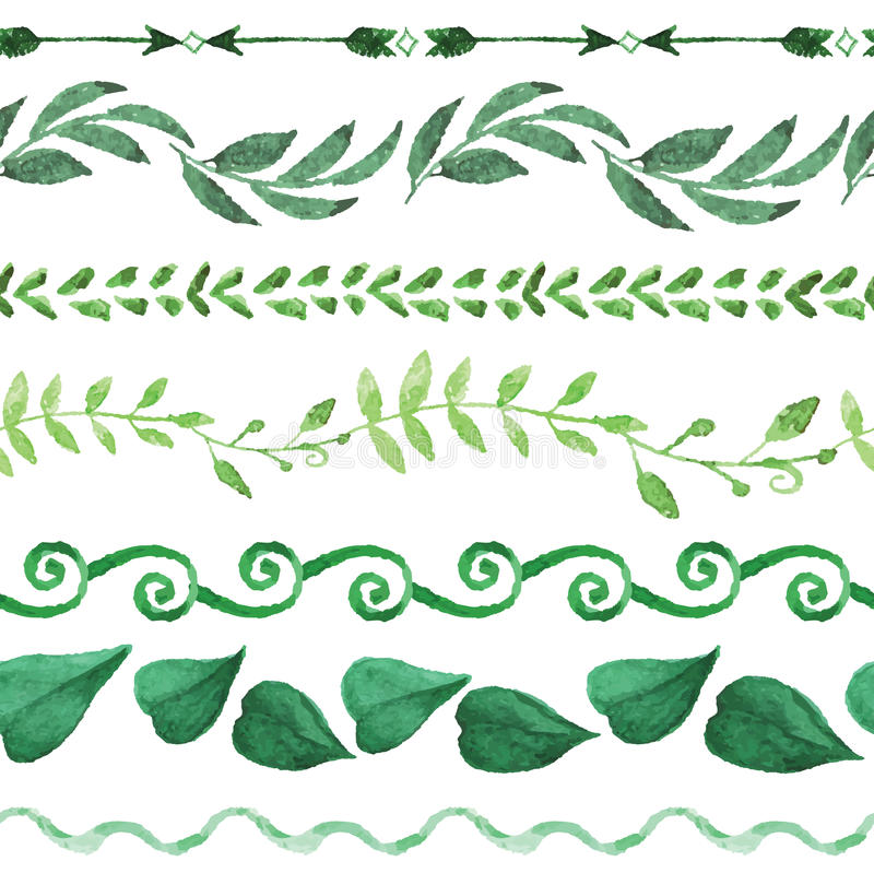 Akwareli granicy bezszwowy set rocznik kwiecisty royalty ilustracja