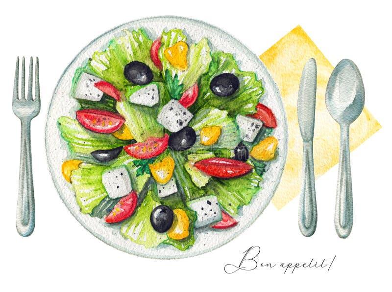 Akwareli grecka sałatka na talerzu, cutlery i pielusze, ilustracja wektor