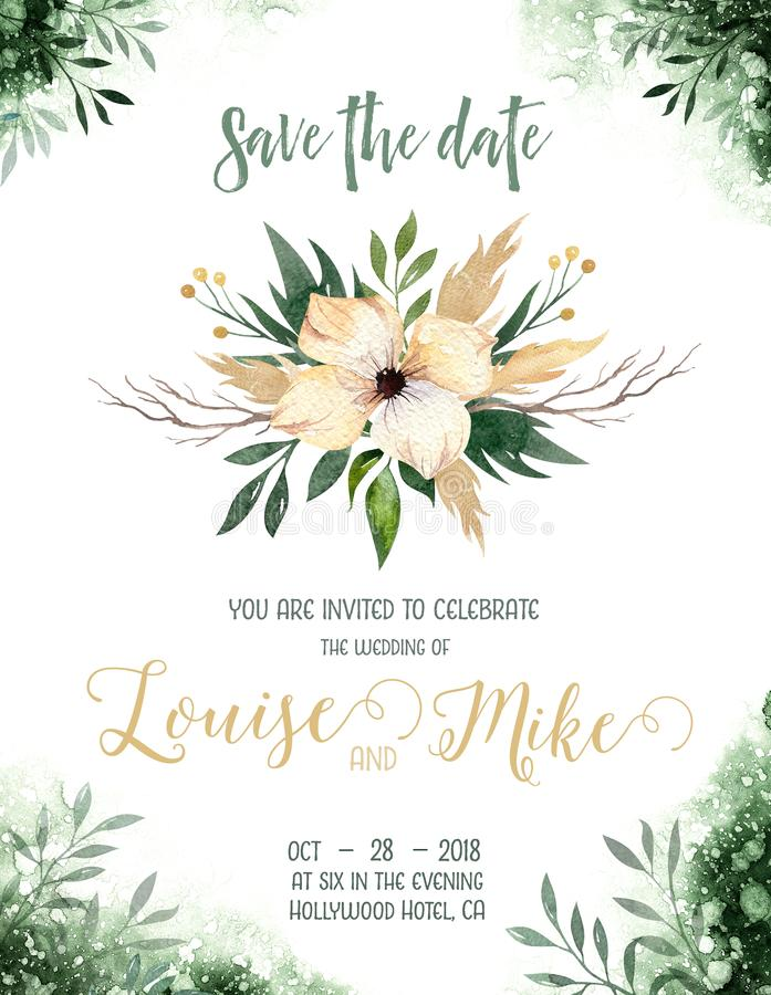 Akwareli greenery barwi ślubną zaproszenie kartę z zielonymi i złocistymi elementami papierowa tekstura z kwiecistym i liśćmi ilustracji