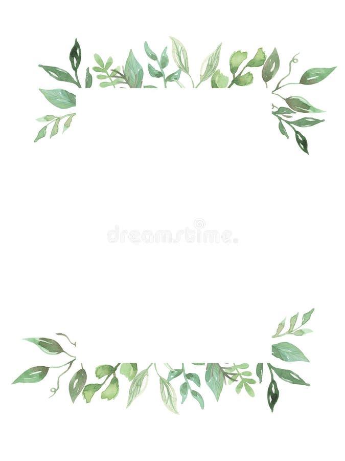 Akwareli Greenery liści ulistnienia ręka Malujący Ramowy Ślubny wianek
