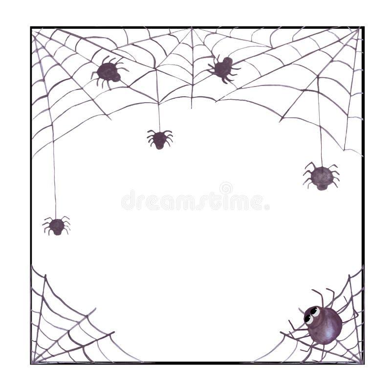 Akwareli Halloween rama z spiderweb i pająkami Stosowny dla zaproszeń, karty, dekoracje ilustracji