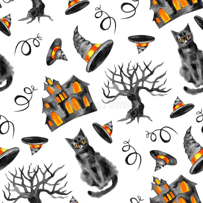 Akwareli Halloween tło Ręka malujący akwarela bezszwowy wzór royalty ilustracja