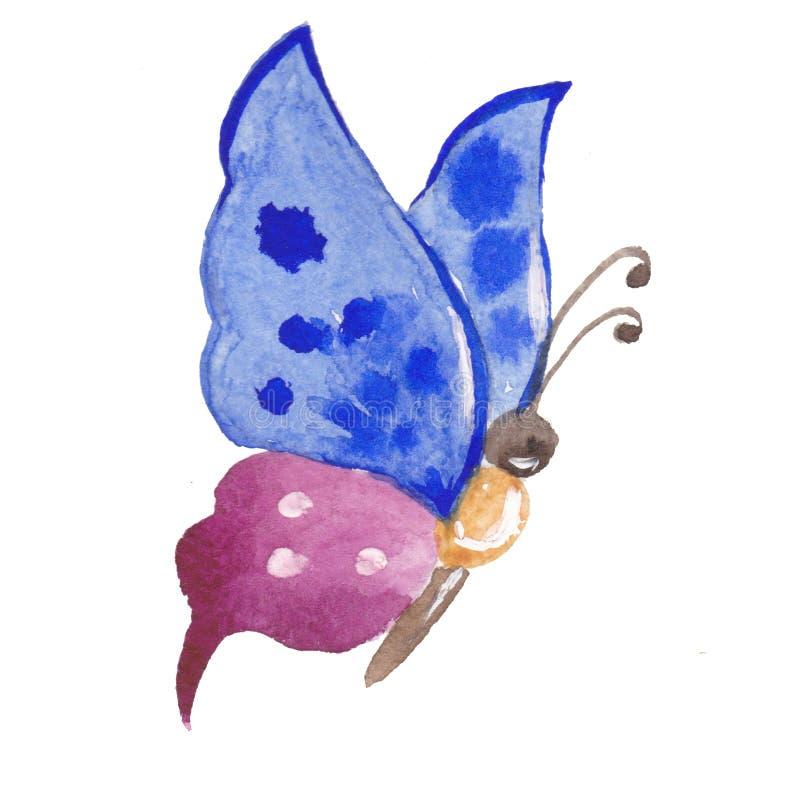 Akwareli handrawn błękitny purpurowy żółty motyl ilustracja wektor