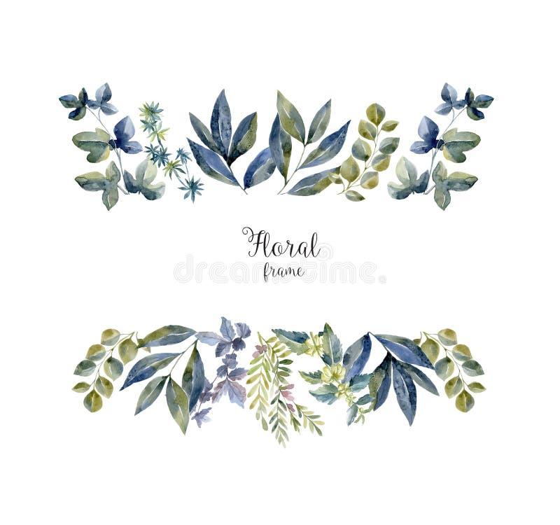 Akwareli herbarium rama z kwiatami i lasowym liściem ilustracja wektor