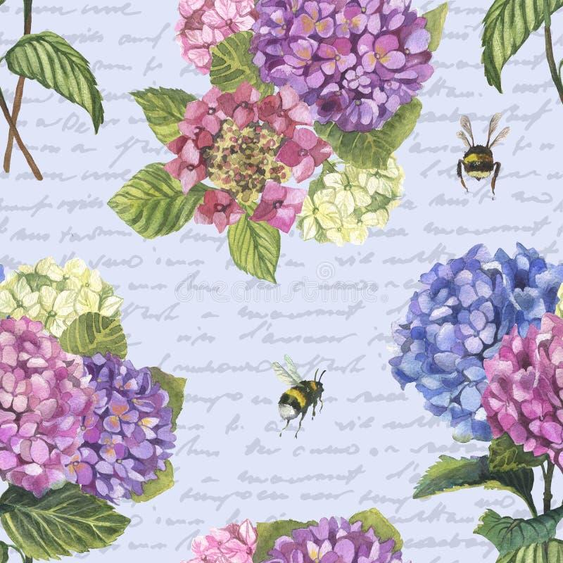 Akwareli hydragenia bezszwowy wzór z bumblebees ilustracji