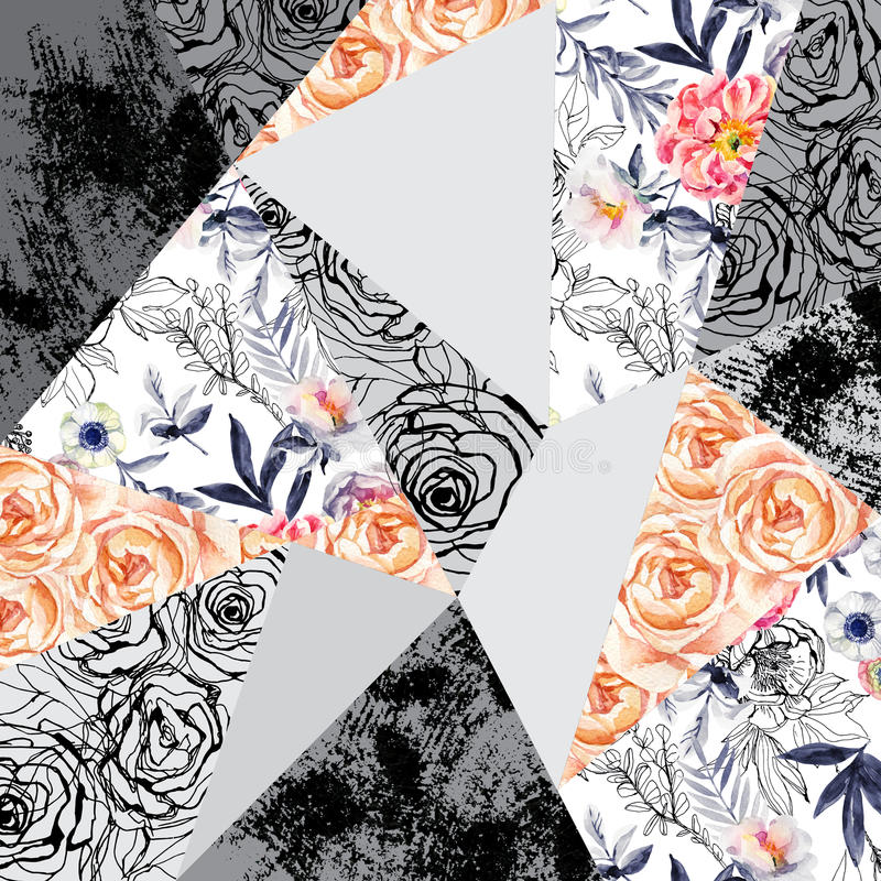 Akwareli i atramentu doodle kwiaty, liście, odchwaszczają abstrakcjonistycznego tło ilustracja wektor