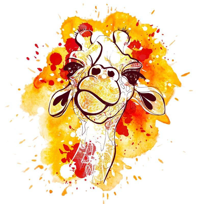 Akwareli i nakreślenia ręki remisu żyrafy ilustracja Pomarańczowej koszulki żyrafy zwierzęcy druk ilustracji