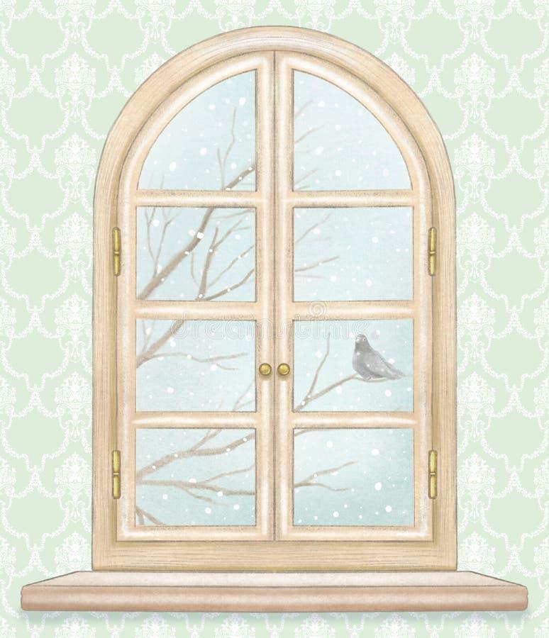 Akwareli i ołowianego ołówka okno z zima krajobrazem royalty ilustracja