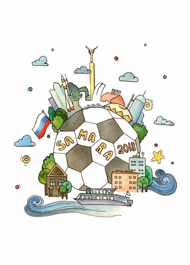 Akwareli ilustracj filiżanka na futbolu 2018 Rosja obraz stock
