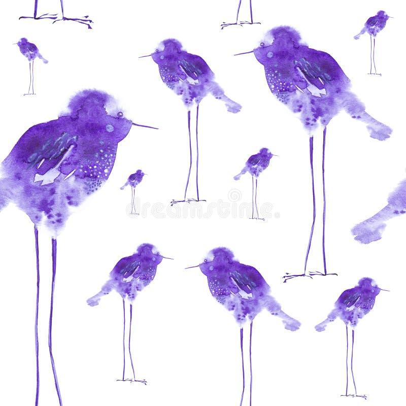 Akwareli ilustracja abstrakcjonistyczne ptak krople na długich nogach, dziecięca Drukujący, projektów elementy pojedynczy białe t ilustracja wektor