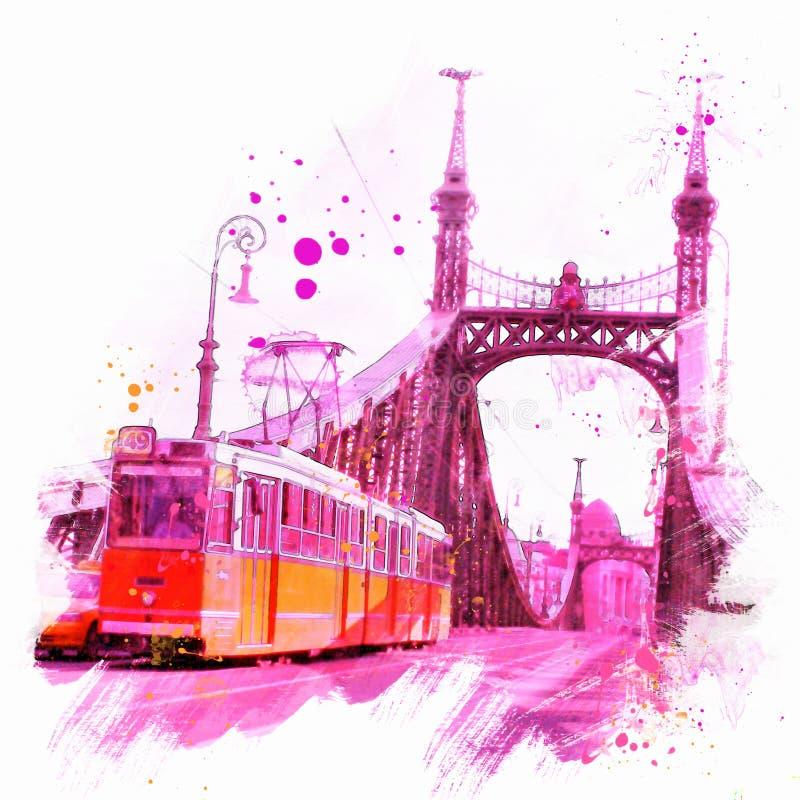 Akwareli ilustracja Budapest ilustracja wektor