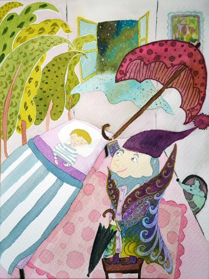 Akwareli ilustracja chłopiec z ole lukoe bajką Hans Christian Andersen ilustracja wektor