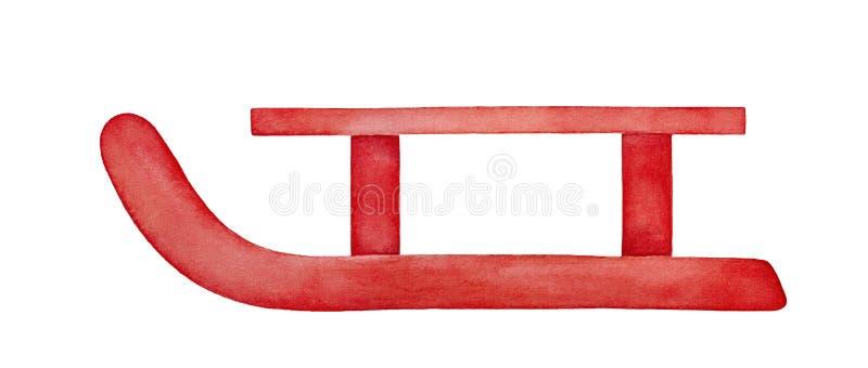 Akwareli ilustracja czerwony drewniany sanie royalty ilustracja