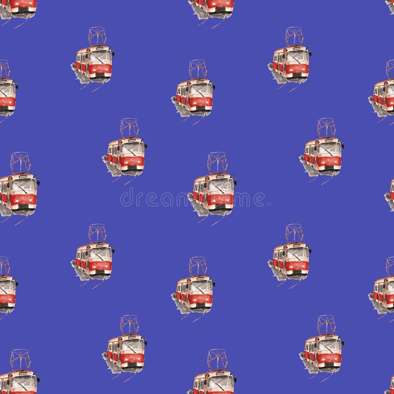 Akwareli ilustracja czerwony tramwaju wzór ilustracja wektor
