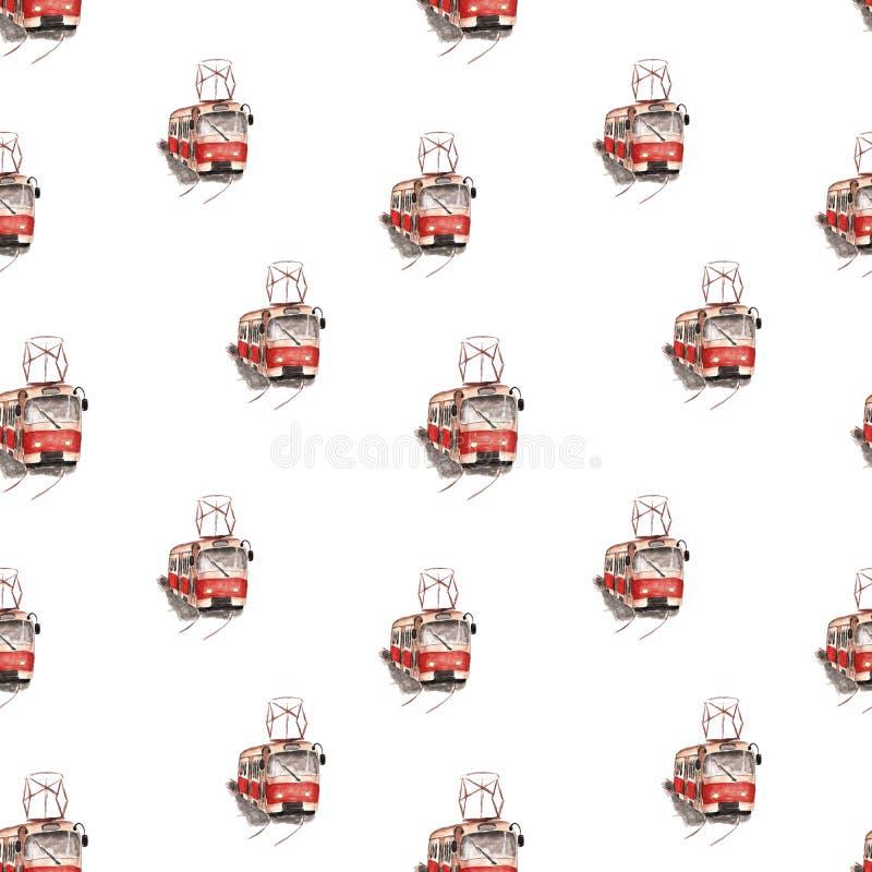 Akwareli ilustracja czerwony tramwaju wzór royalty ilustracja