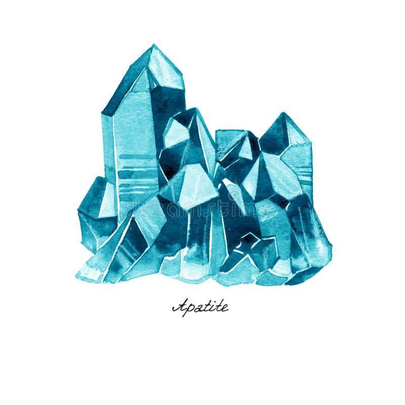 Akwareli ilustracja diamentowi kryształy Błękitny apatyt ilustracja wektor