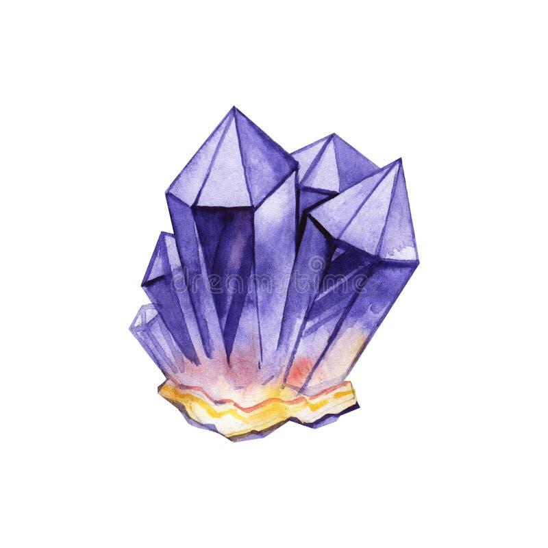 Akwareli ilustracja diamentowi kryszta?y Ametist na białym tle royalty ilustracja