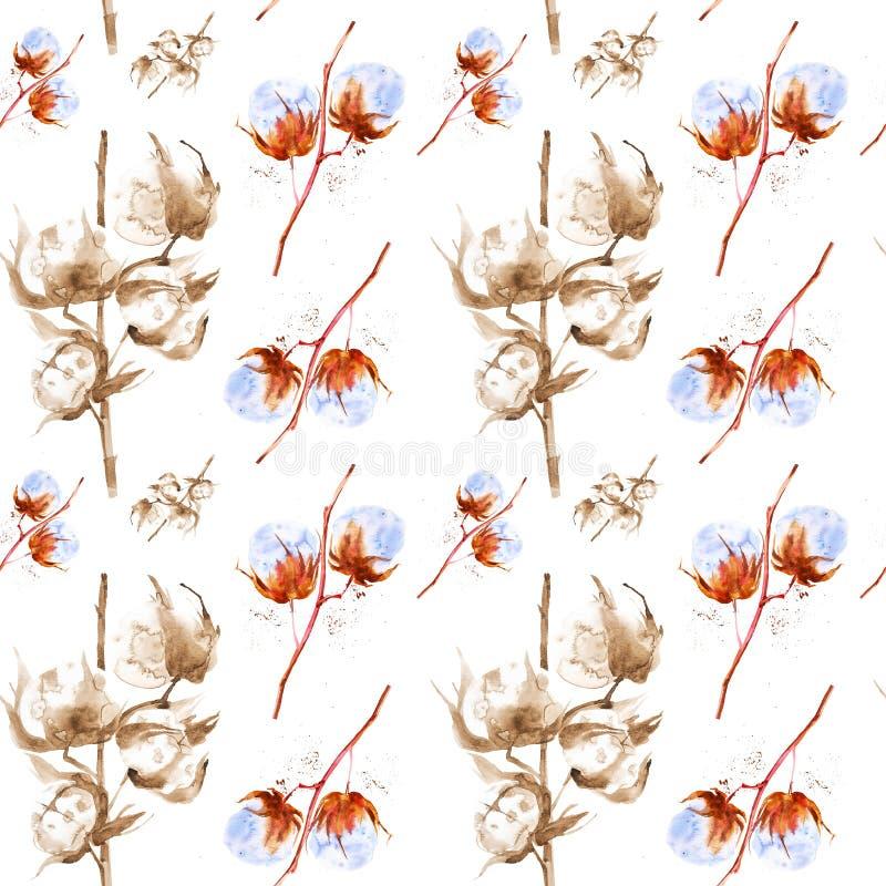 Akwareli ilustracja gałąź bawełna z puszystymi kwiatami pojedynczy bia?e t?o bezszwowy wzoru ilustracja wektor