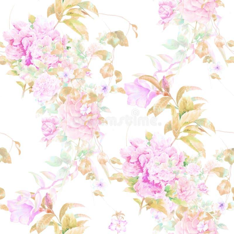 Akwareli ilustracja liść i kwiaty, bezszwowy wzór royalty ilustracja
