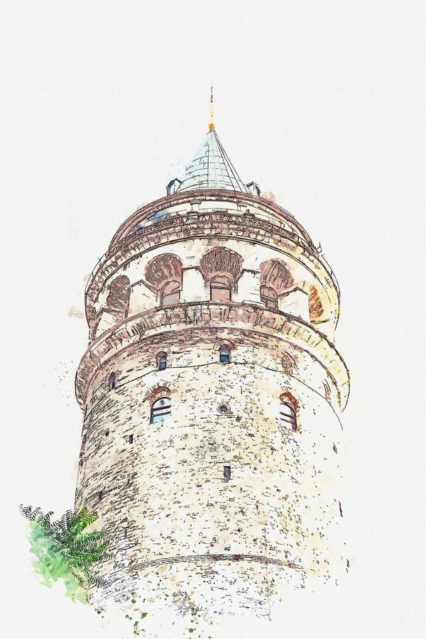 Akwareli ilustracja lub nakreślenie Galata wierza w Istanbuł w Turcja royalty ilustracja