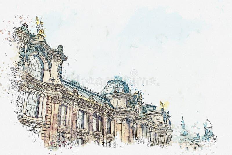 Akwareli ilustracja lub nakreślenie Pałac Albertinum, galeria nowi mistrzowie lub galeria sztuki w Drezdeńskim wewnątrz ilustracja wektor