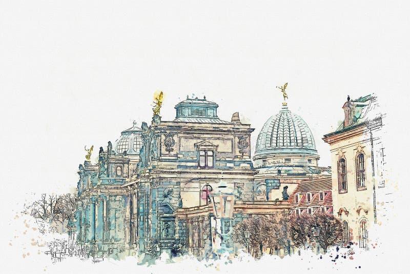 Akwareli ilustracja lub nakreślenie Pałac Albertinum, galeria nowi mistrzowie lub galeria sztuki w Drezdeńskim wewnątrz royalty ilustracja