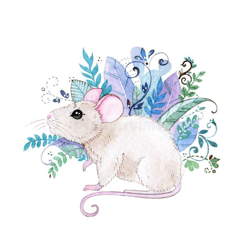 Akwareli ilustracja mała śliczna mysz na tle piękni egzotów liście, krzaki i Doskonalić dla druków i kart royalty ilustracja