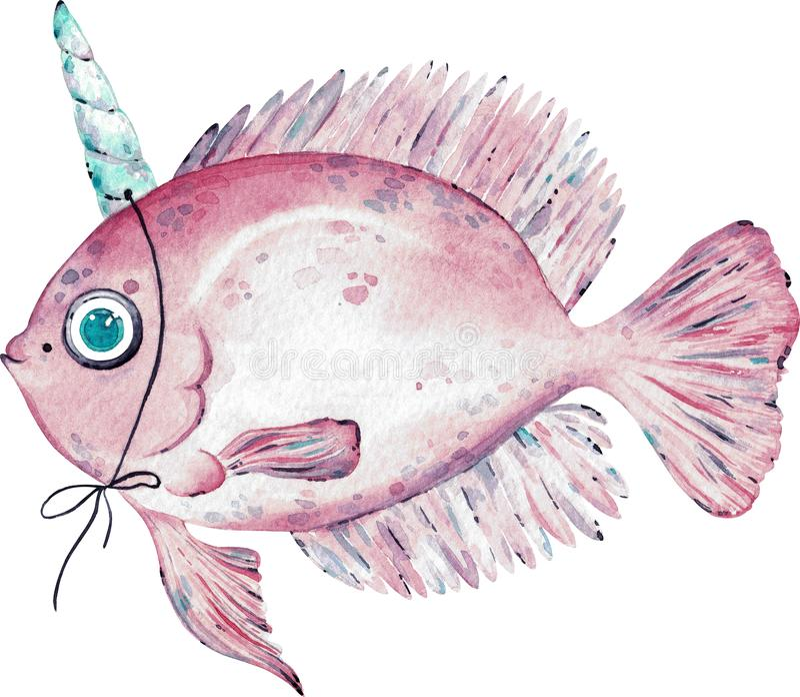 Akwareli ilustracja menchie łowi z rogiem na głowie odizolowywającej na białym tle ilustracja wektor
