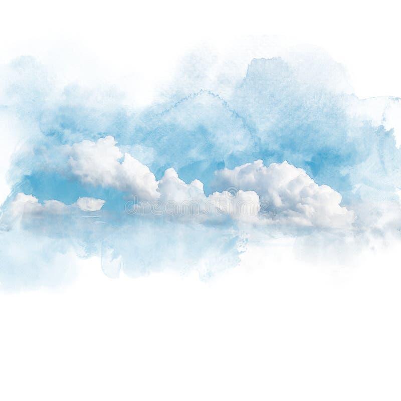 Akwareli ilustracja niebo z obłocznym retuszem ilustracja wektor