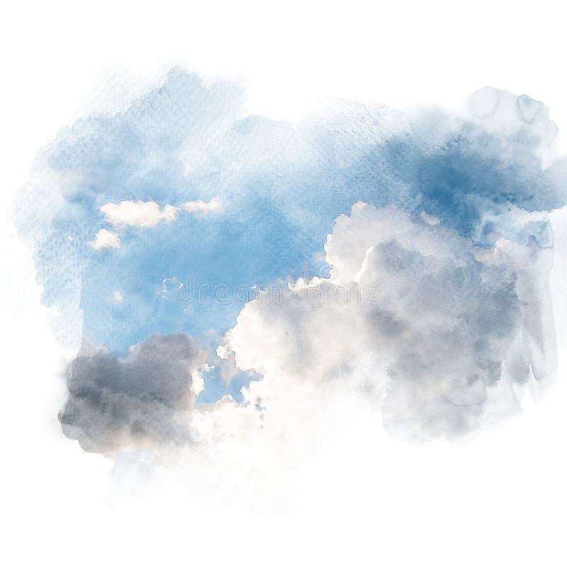 Akwareli ilustracja niebo z obłocznym retuszem ilustracji