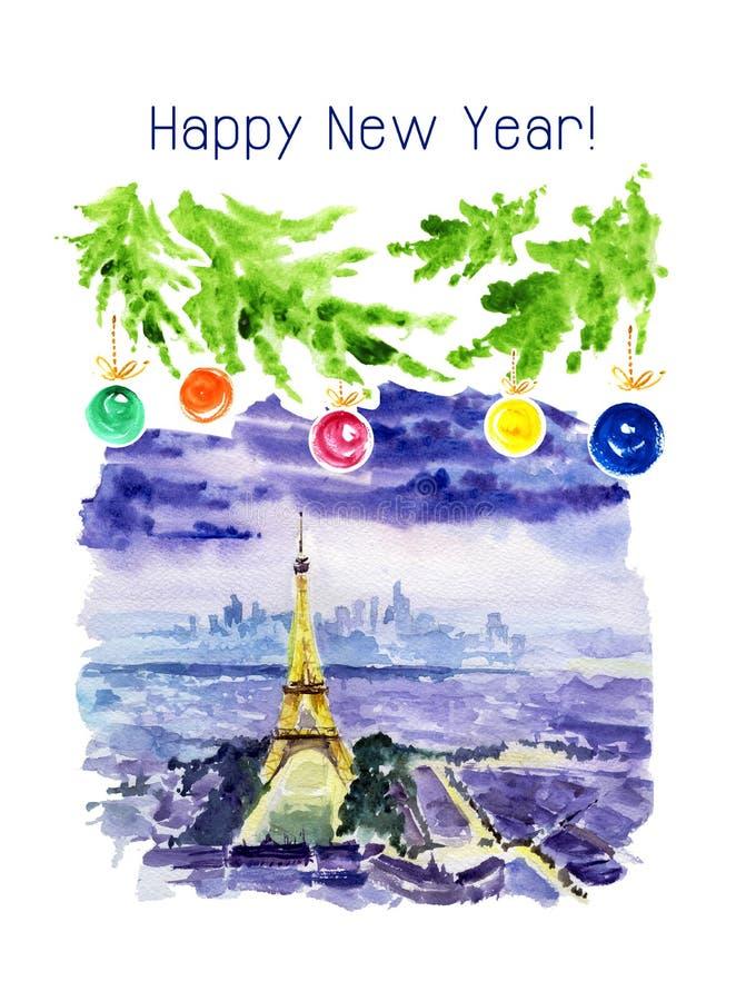 Akwareli ilustracja noc Paryż royalty ilustracja