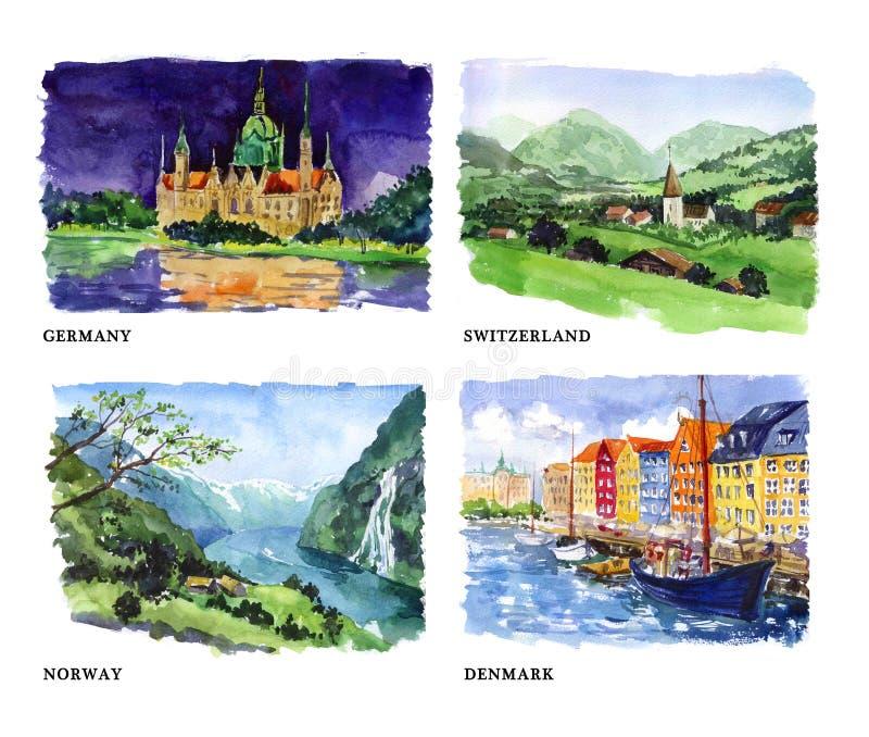 Akwareli ilustracja piękni natura widoki ilustracji