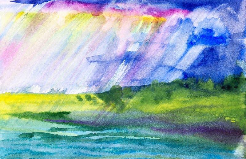 Akwareli ilustracja pi?kny lato lasu krajobraz jeziorem ilustracji