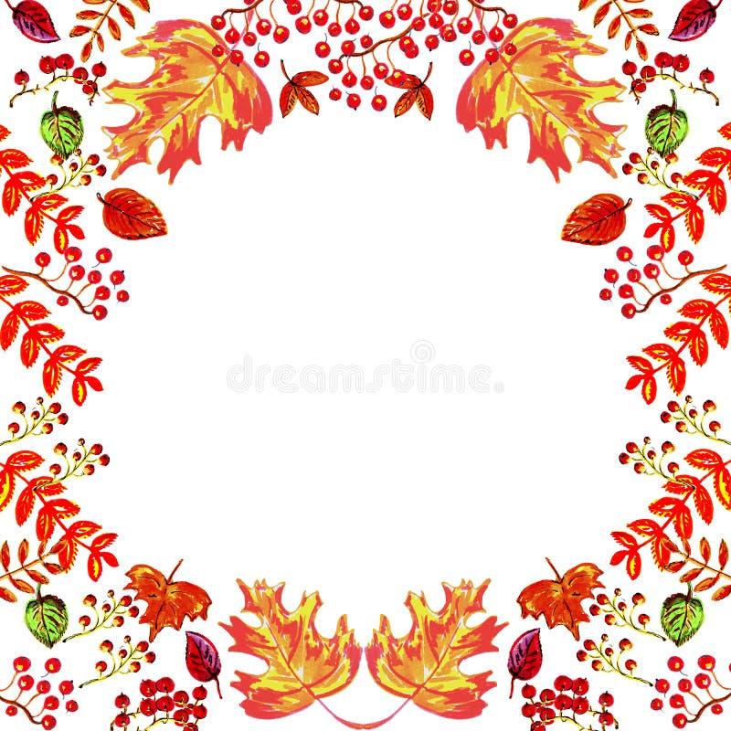 Akwareli ilustracja: rama barwioni jesień liście na białym tle ilustracji
