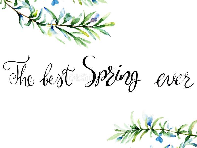 Akwareli ilustracja rozmaryny z tytułem najlepszy wiosna e royalty ilustracja