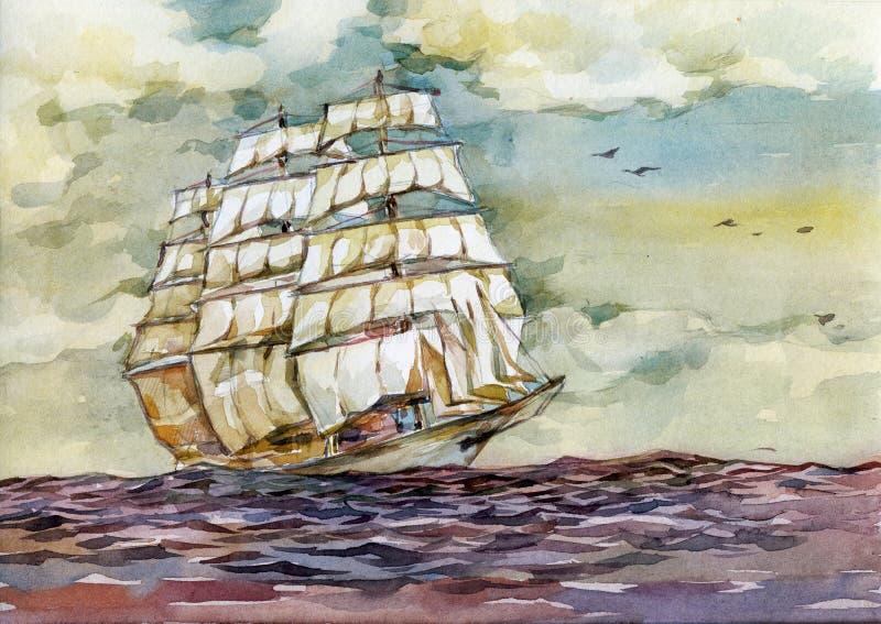 Stary statek w morzu na zmierzch akwareli ilustraci ilustracji