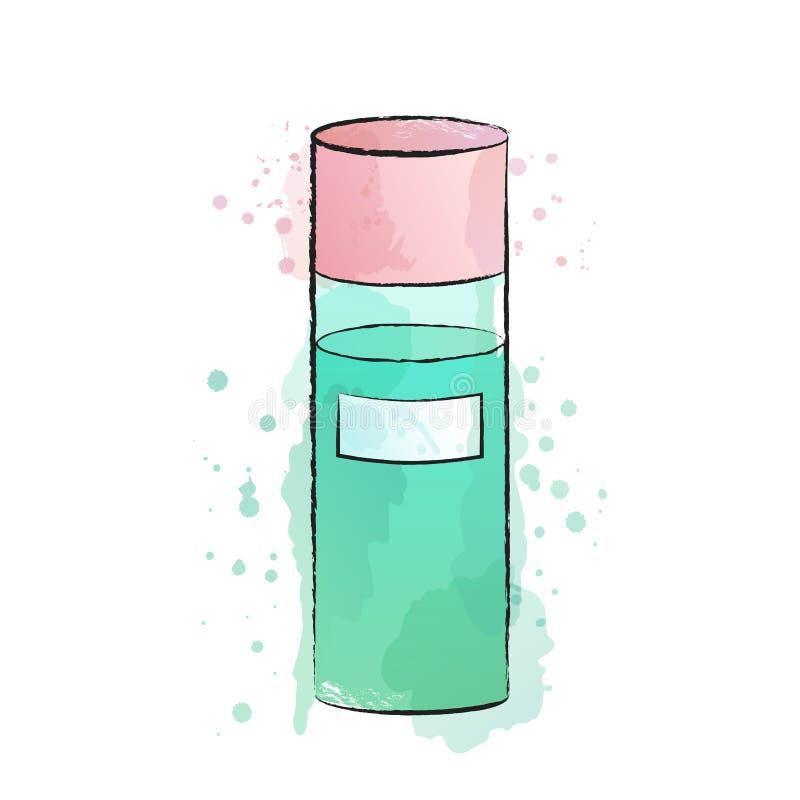 Akwareli ilustracja toner; płukanka lub micelarna woda ilustracja wektor