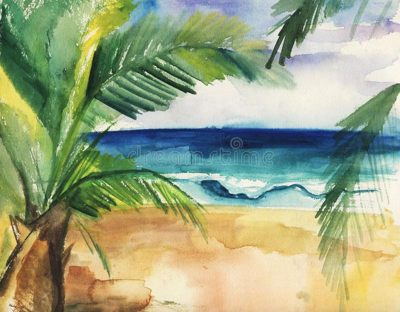 Akwareli ilustracja tropikalna pla?a, fale i palmy, royalty ilustracja