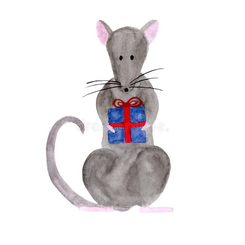Akwareli ilustracja trzyma prezenta pudełko Bożenarodzeniowy szczur ilustracja wektor