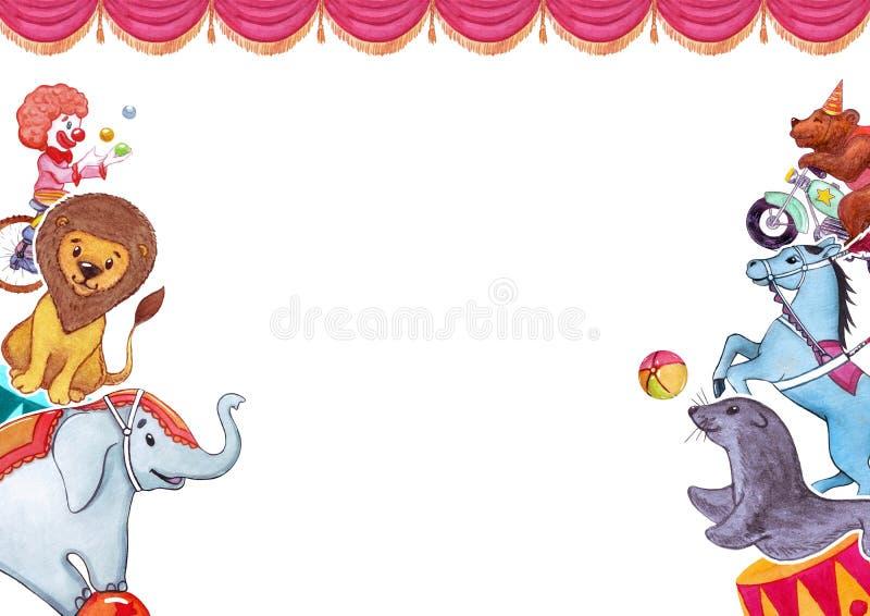 Akwareli ilustracja z śmiesznymi zwierzętami i artystami, templatefor plakat, sztandar, karta Cyrk, przedstawienie, występ royalty ilustracja