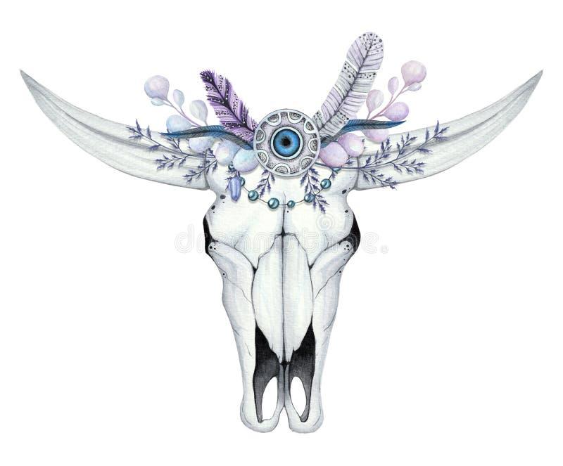 Akwareli ilustracja z czaszką bizon royalty ilustracja