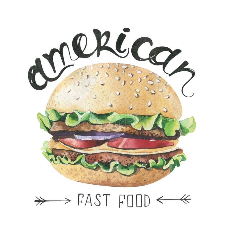 Akwareli ilustracja z fastem food Hamburgeru plakat royalty ilustracja
