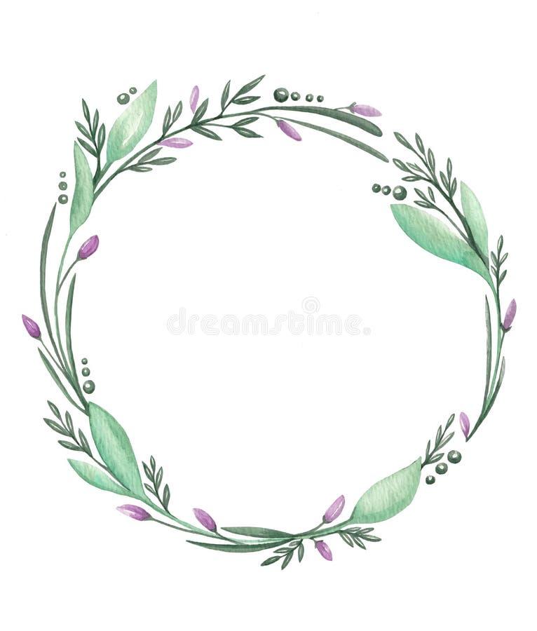 Akwareli ilustracja z romantyczną kwiat ramą ilustracja wektor