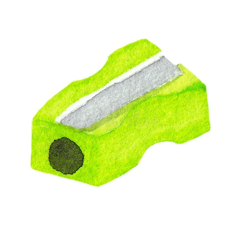 Akwareli ilustracja zielona plastikowa ołówkowa ostrzarka odizolowywająca na białym tle ilustracji