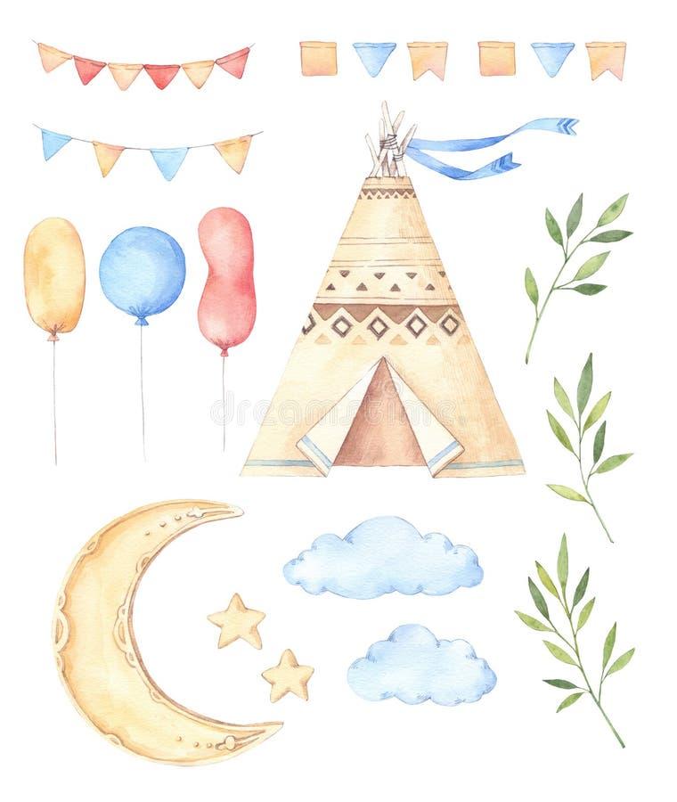 Akwareli ilustracje dzieciaki namioty, księżyc i gwiazdy -, balony, ilustracji