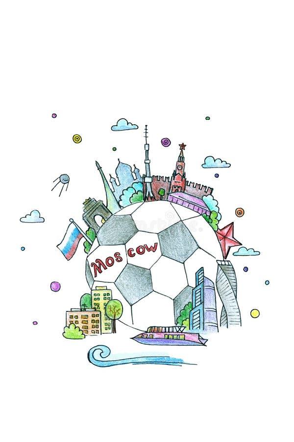Akwareli ilustracje na futbolowym Rosja obrazy stock