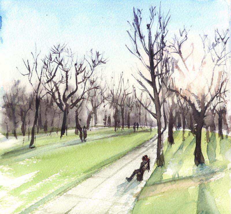 Akwareli ilustracji krajobraz z słońcem i drzewami Zmierzch w parku ilustracji
