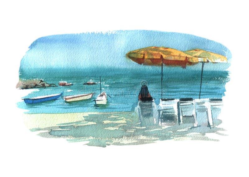 Akwareli ilustracji plaża z słońca łóżek, parasoli i łodzi kolorowym odosobnionym przedmiotem na białym tle dla reklamy, ilustracja wektor